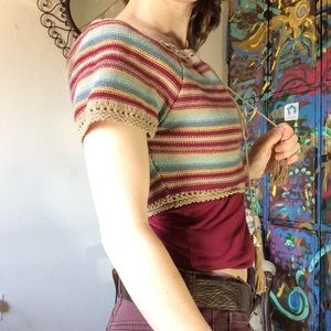 Dance & Marvel Tops - Knit Stripped Crop Top Peasant Blouse